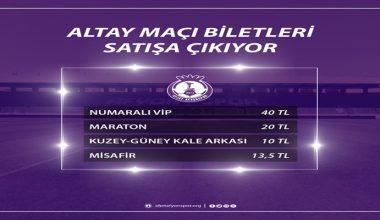 Altay maçının bilet satışı başladı !!