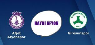 Afjet Afyonspor, Giresunspor karşısında !!!