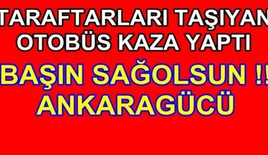 MKE Ankaragücü taraftarını taşıyan otobüs Afyon'da kaza yaptı !!
