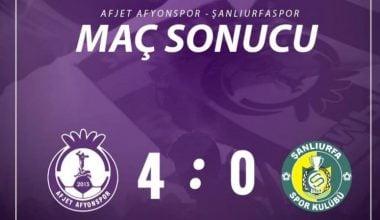 Afjet Afyonspor, Urfa'ya gol oldu yağdı !! Afjet Afyonspor : 4 – 0 Şanlıurfaspor